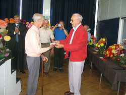 Tom McLelland gets the National Dahlia Society Silver Medal